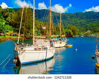 Sailboats in the harbor of Pago Pago, American Samoa