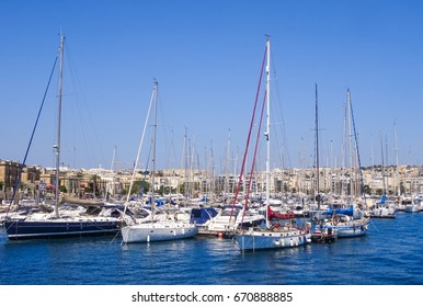 Sailboats in a marina. Picture was taken on Malta.