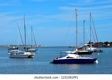 Sailboats moored on the river St. Augustine, Florida