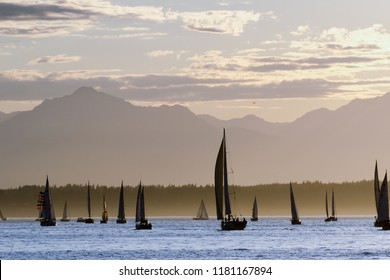 Sailboats and the Olympic Mountains