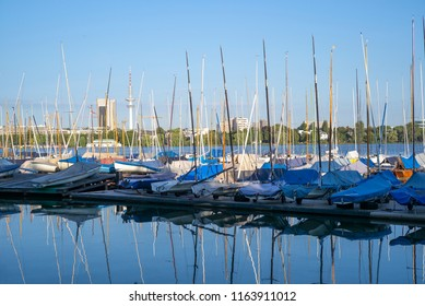 Sailboats on the Alster river in Hamburg, Germany