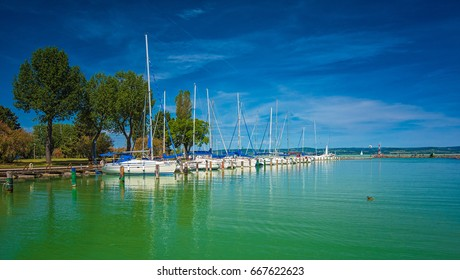 Sailboats on lake Balaton