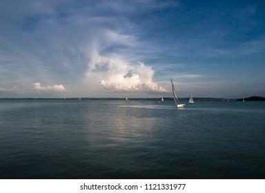 Sailboats on Lake Balaton in Hungary