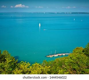 Sailboats on lake Balaton in summer