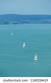 Sailboats on the Lake Balaton on a sunny summer afternoon, at Balaton, Hungary
