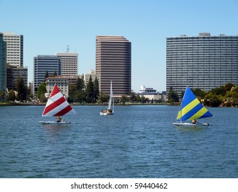 Sailboats on Lake Merritt, Oakland, California