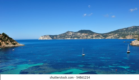 Sailboats on the west coast of Ibiza in summer
