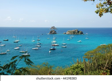 Sailboats outside Gustavia harbor St Barts