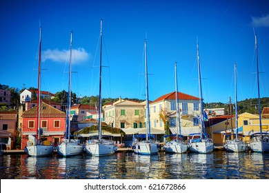 Sailboats in the port of Gaios on Paxos island nearby Corfu, Greece
