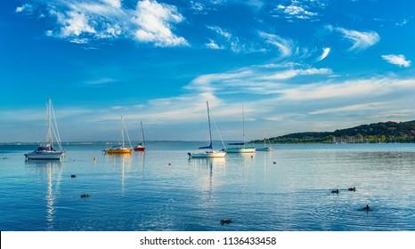 Sailboats in the port at lake Balaton, Hungary in summer