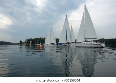 Sailboats sailing on the lake.Competition sport of sailing.