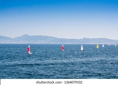 Sailboats sailing in a regatta on the sea in Sanxenxo, Pontevedra estuary