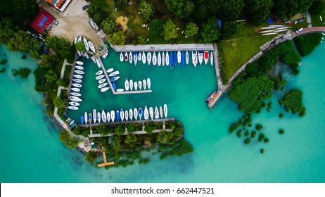 Sailboats and small yachts anchored at Lake Balaton, Hungary. Aerial view.