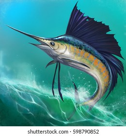 Sailfish on the background of waves in a jump