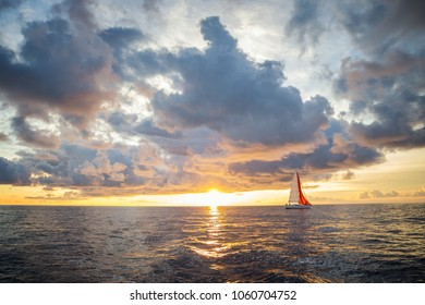 Sailing against sunset in Croatia