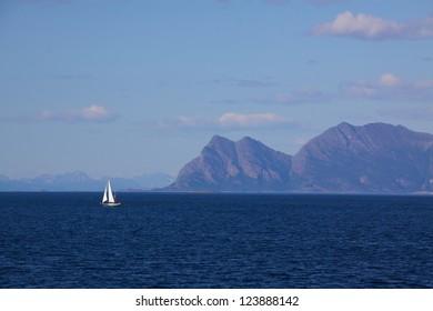 Sailing along the picturesque norwegian coastline