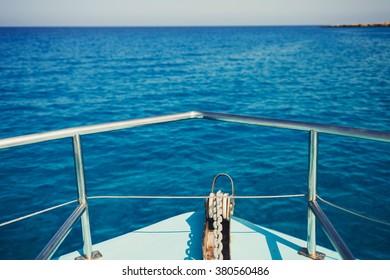 Sailing in blue Mediterranean sea in summer vacation. Cyprus