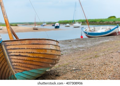 Sailing boast beached at Brancaster Staithe, Norfolk