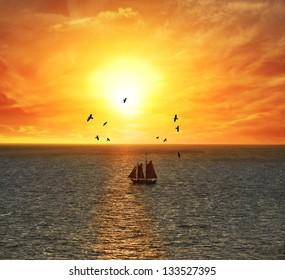 Sailing Boat At The Colorful Sunset