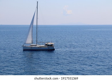 Sailing boat in Croatia. Beautiful Mediterranean landscape.