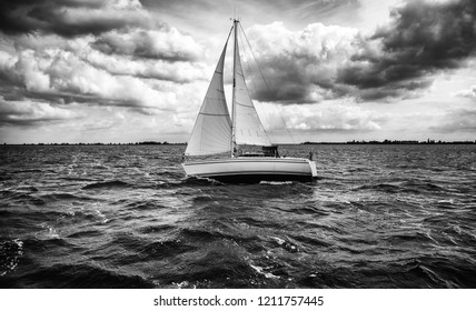 Sailing boat sailing, detail of transport by water
