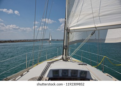sailing boat entering port