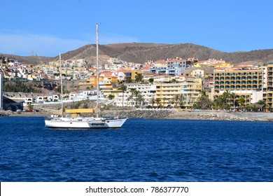 sailing boat entering the port of Arguineguin on the island Gran Canaria Spain