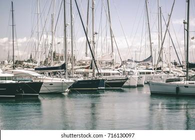 The sailing boat harbor in Palma de Mallorca, Spain.
