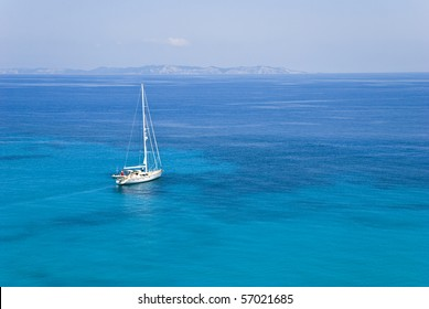 A sailing boat in the ionian sea greece