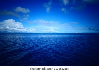Sailing boat in the lagoon of Huahine - Huahine, French Polynesia
