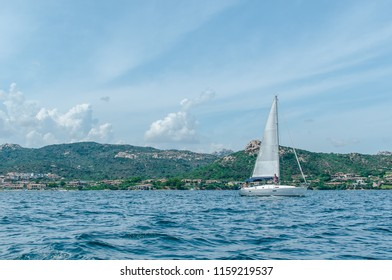Sailing boat in the Mediterranean Sea near Sardinia, Italy