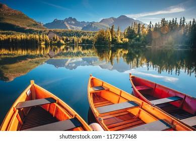 Sailing boat. Mountain landscape. Mountain lake. Outdoor recreation. Strbske pleso, Slovakia