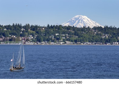 Sailing boat with Mt Rainier in background, Seattle, Washington