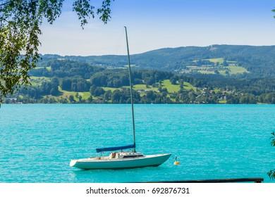 Sailing boat on lake Attersee, upper Austria, Salzkammergut, Europe. Austria.