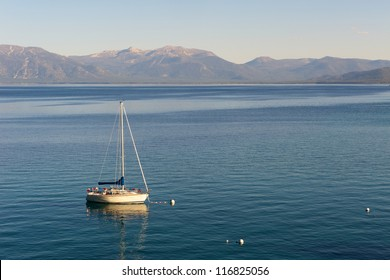 Sailing boat on Lake Tahoe early evening