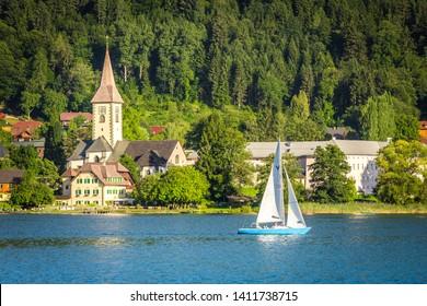 Sailing boat at Ossiacher Lake, Carinthia, Austria