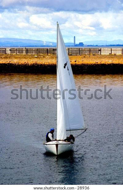 Sailing boat at Port Edgar, Firth of Forth, Scotland