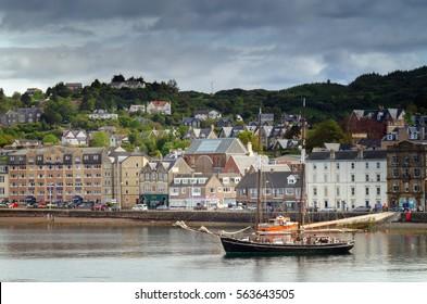 Sailing boat in port of Oban, Scotland