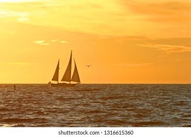 Sailing Boat at Sunset in Santa Monica beach in Los Angeles, California, USA.