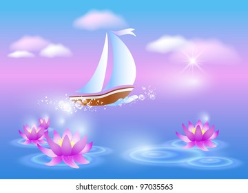 Sailing boat and violet lilies against a pink dawn. Raster version of vector.