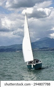 Sailing boat in the windy summerday