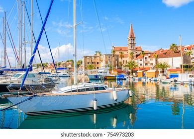 Sailing boats anchoring in Milna port on sunny summer day, Brac island, Dalmatia, Croatia