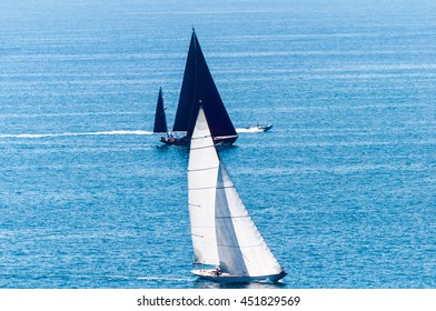 Sailing boats black and white in the napoli gulf
