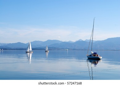 Sailing boats in the Chiemsee lake, Germany