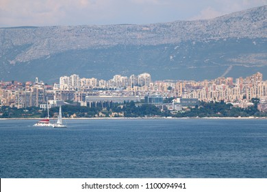 Sailing boats in front of city coast in Split, Croatia.