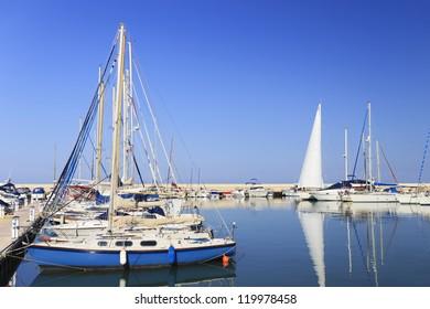 Sailing boats at Latchi harbor