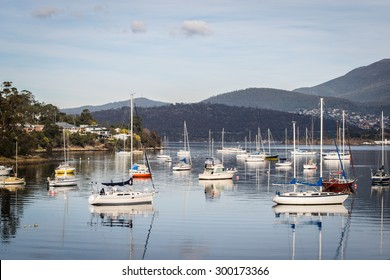 Sailing boats moored at Geilston Bay, Hobart, Tasmania, Australia