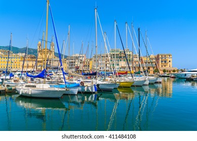 Sailing boats mooring in Bastia port on sunny summer day, Corsica island, France