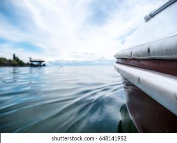 Sailing Boats on the horizon at Lake Constance, Germany.