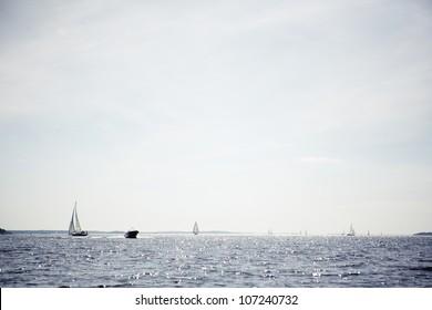 Sailing boats on sea